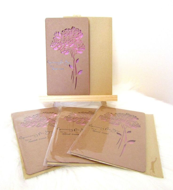 NEW 4 Sets Laser Cut Out Flower Gift Cards & Envelopes - To a Special friend
