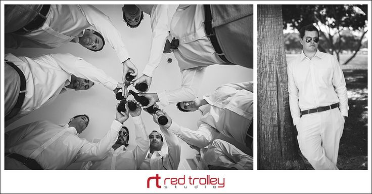 Outdoor wedding at Marriott Resort by Red Trolley Studio, Photojournalistic wedding photography San Diego, Groom and groomsmen getting ready
