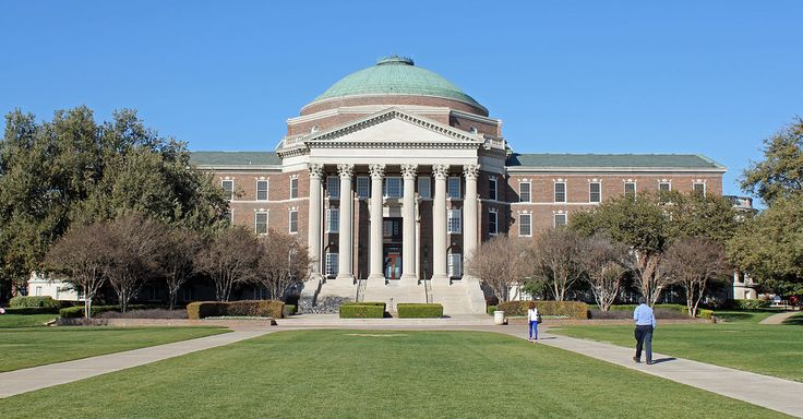Dallas Hall on the Southern Methodist University Campus in Dallas, Texas. The property is listed on the National Register of Historic Places as of November, 1978.