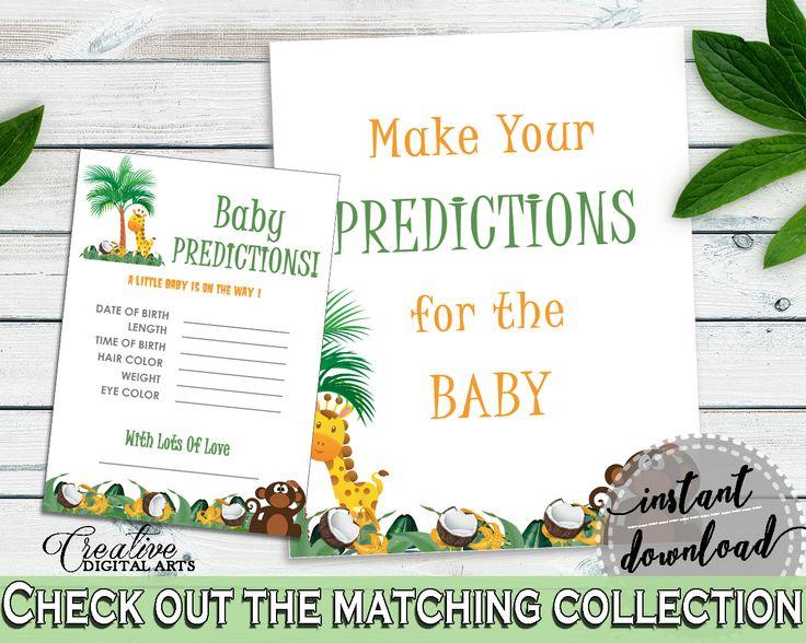 Baby Predictions Baby Shower Baby Predictions Jungle Baby Shower Baby Predictions Baby Shower Jungle Baby Predictions Green Brown EJRED #babyshowerparty #babyshowerinvites