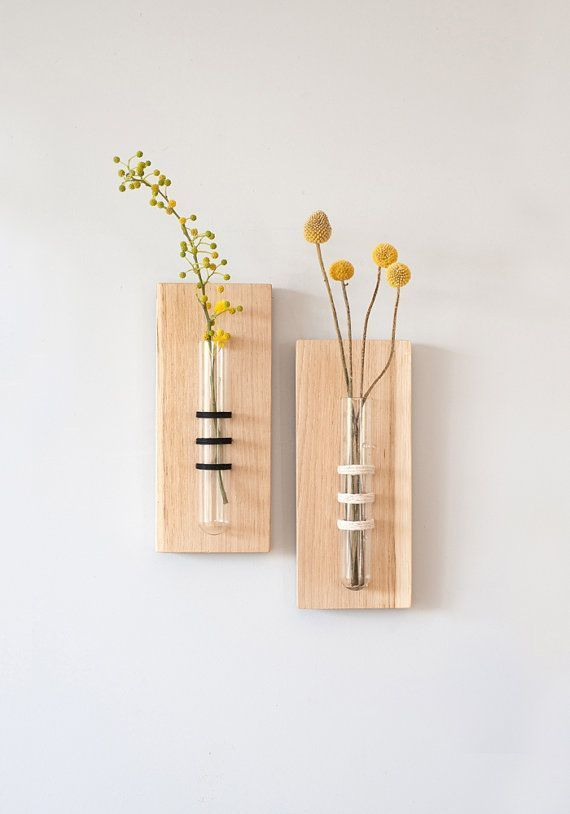 Tube Vase, Wall Hanging, Black Thread, Flower Vase, Test Tube, Unique Home Acces... - Hochzeitsgeschenk