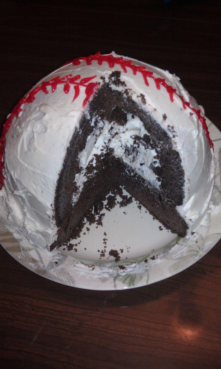 Baseball Cake using Betty Crocker Bake 'n Fill Baking Set