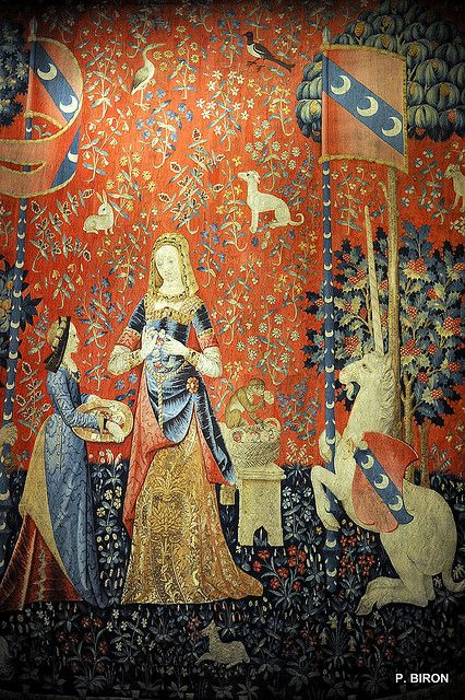 La dame à la Licorne (the Lady and the Unicorn) tapestries, in the Musée national du Moyen-Âge. This one represents the sense of Smell.
