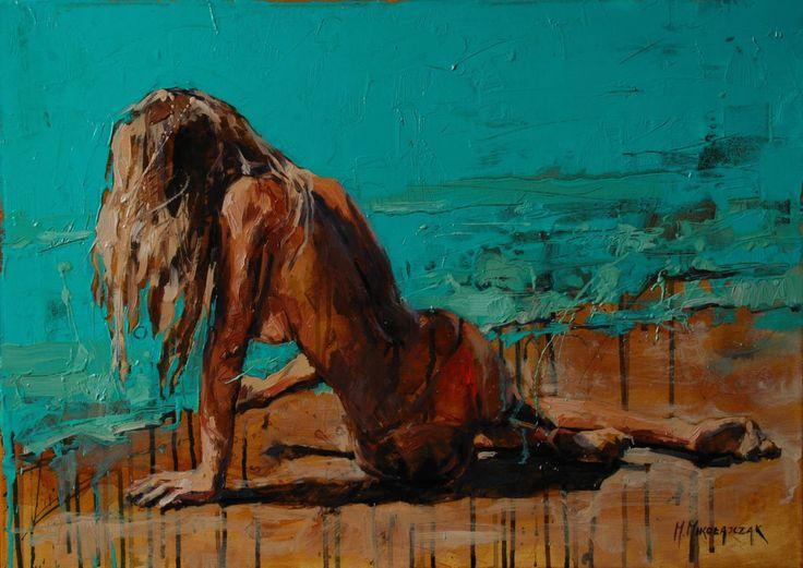 Summer time - Картина,  70x50x3 cm ©2016 - Marcin Mikołajczak -                                                                                    Импрессионизм, Холст, Эротический, Женщины, Обнаженная натура, nude