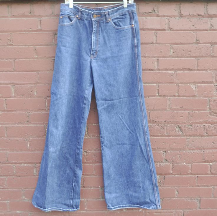 Vintage 70s Seattle Blues Bell Bottoms Mens Jeans Super long by drowsySwords on Etsy