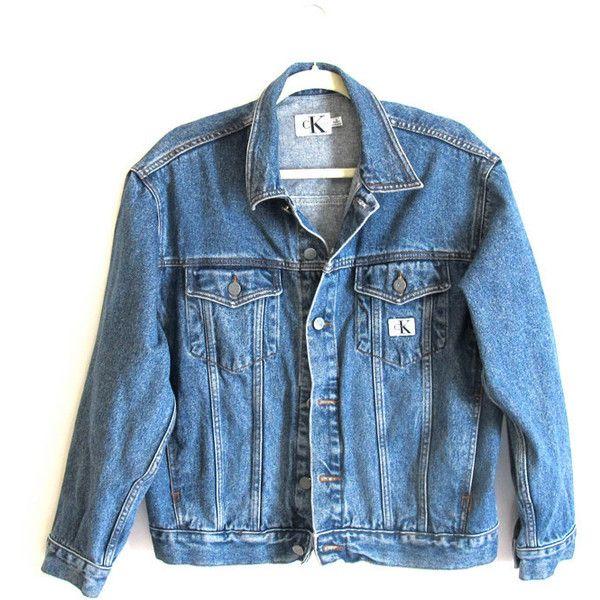 CK Jeans Denim Jacket. 90s. Loose. Medium-blue. VTG Jean Jacket ($50) ❤ liked on Polyvore featuring outerwear, jackets, tops, coats & jackets, blue jean jacket, logo jackets, jean jacket, denim jacket and cotton jacket