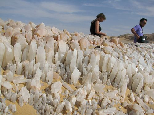 The Crystal Mountain  (28° 26' E and 27° 39' N) between the oasis Bahariya and Farafra, northern of the White Desert, Egypt.   The Cryst...