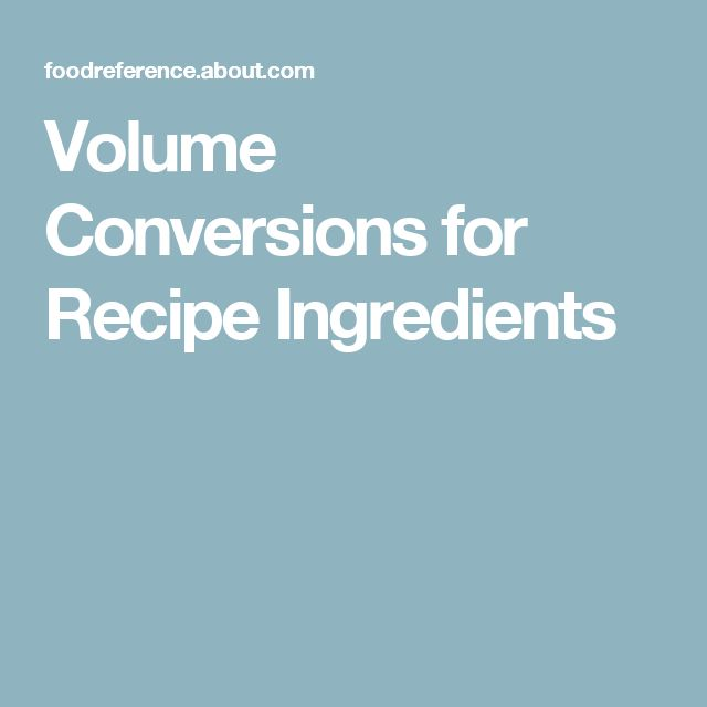 Volume Conversions for Recipe Ingredients