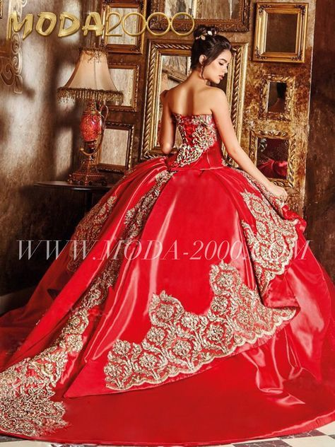8d0c883e851 Elegant red gold quinceañera dress with tail