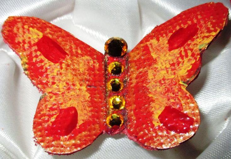 Fluture rosu auriu - piele cu cristale swarovsky