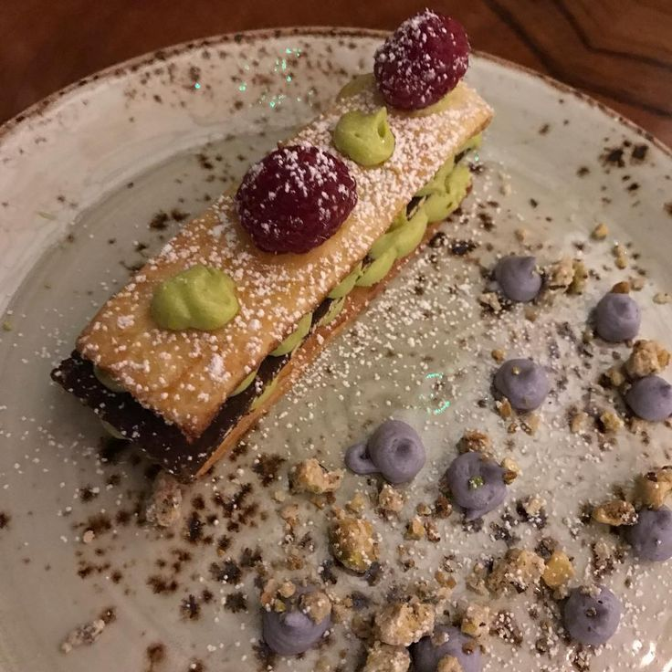 Pistachio Napoleon with lavender cream at #crockersfolly #dessert #gourmetdessert #sweet #yummy #food #foodie #foodporn #foodphotograph #Photography #nofilterneeded #nofilter