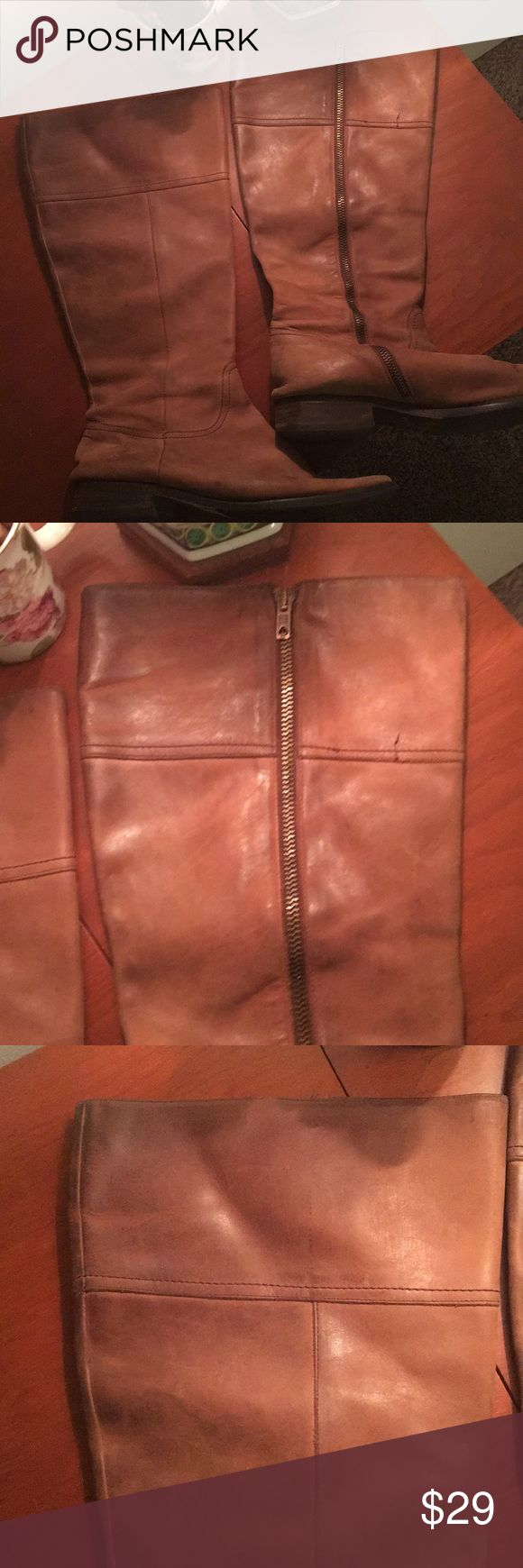Well-loved leather JCREW tall boots. Inexpensive Well-loved JCREW Brown tall riding boots. Size 10 WIDE CALF. Soles replaced. In used condition.  Willing to sell for cheap to a good home. Cleaning these babies up with some leather cleaner would make a big difference! JCREW Shoes