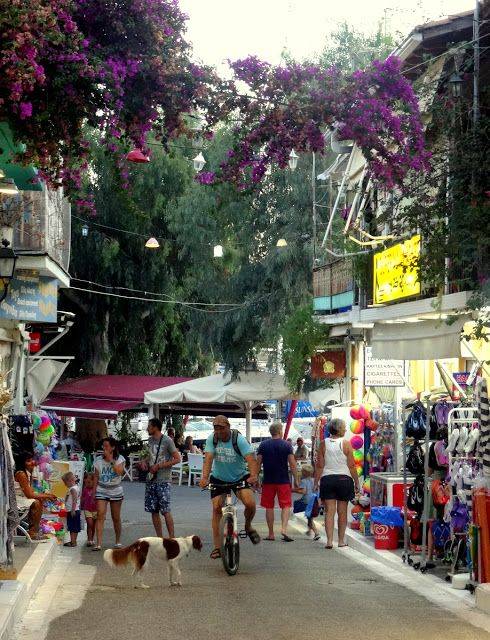 The entrance to the shopping street of Vasiliki, Lefkada Island, Greece