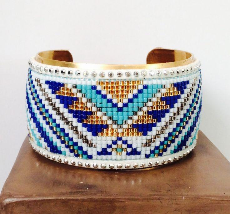 Manchette rigide tissée : Bracelet par petit-bijou-de-chloe