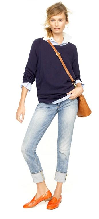 j.crew dolman sleeve sweatshirt, perfect shirt, slim boy jean, brompton bucket bag & biella patent loafers.