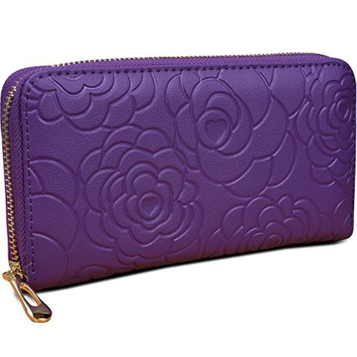 Yahoho Women's Rose Flower Genuine Leather Wallet with Zipper Pocket Phone Card Holder