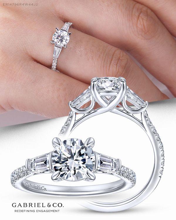 14k White Gold Round 3 Stone Diamond Engagement Ring Gemstones Jewelry Rings Silver Gemstone Jewelry Three Stone Engagement Rings