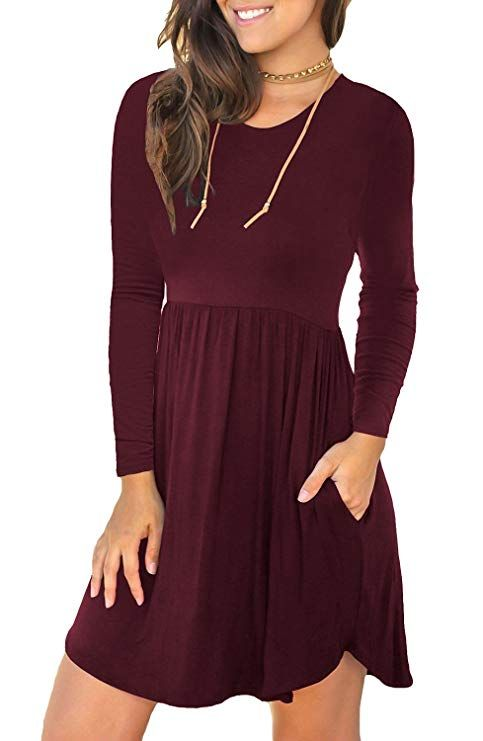 04c28cec5771 Unbranded  Women s Long Sleeve Loose Plain Dresses Casual Short Dress  Pockets Wine Red Medium black friday offer