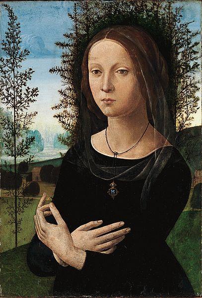 Portrait of a young woman ( circa 1490-1500). Oil on panel. Lorenzo di Credi (1460–1537) . http://www.metmuseum.org/toah/hd/bota/ho_43.86.5.htm Wikimedia