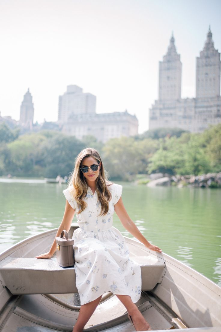 Gal Meets Glam Boat Ride In Central Park Christy Dawn dress, Mark Cross bag, Chloe flats & Ray Ban sunglasses