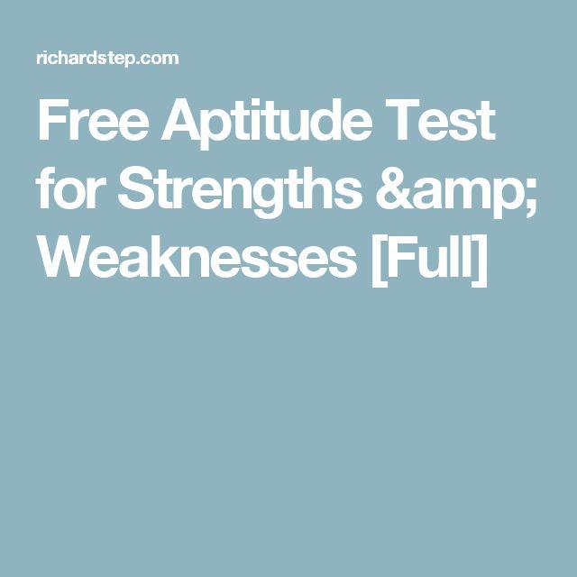 Free Aptitude Test for Strengths & Weaknesses [Full]
