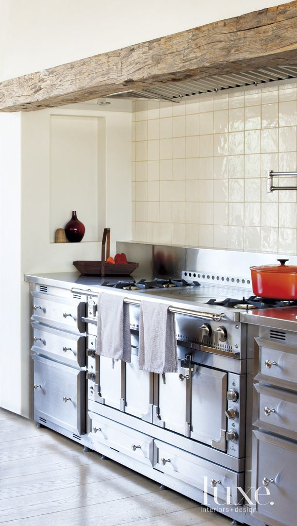 Transitional White Kitchen Detail with Ceramic Tile