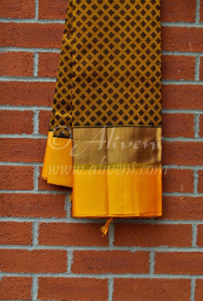 Kuppadam Pattu Brown/Yellow checks Saree with Large Yellow/Brown Zari border