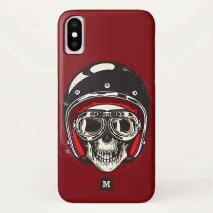 Monogram. Modern Skull with Black Biker Helmet. iPhone X Case - monogram gifts unique custom diy personalize