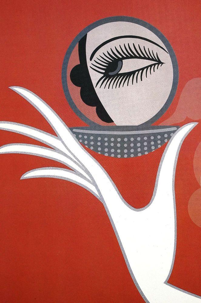 Erte 1922 COMPACT VANITIES EYE in MIRROR - Classic Art Deco Fashion Print Matted #ArtDeco