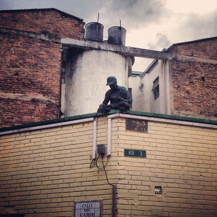 Iron statue on rooftop