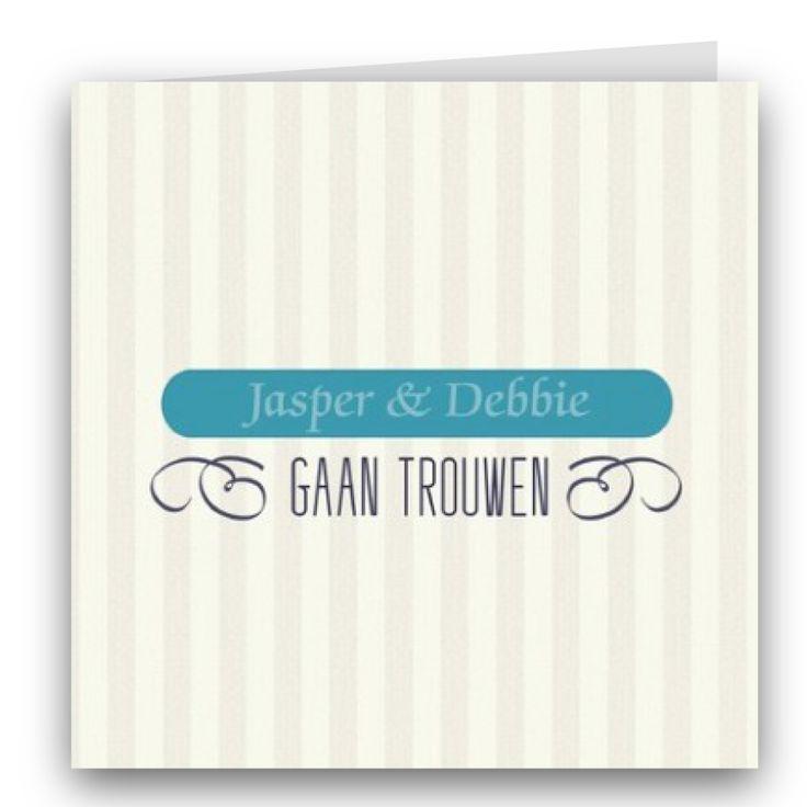 Trouwkaart van ontwerper Cindy van de Ven, vintage streep turquoise.