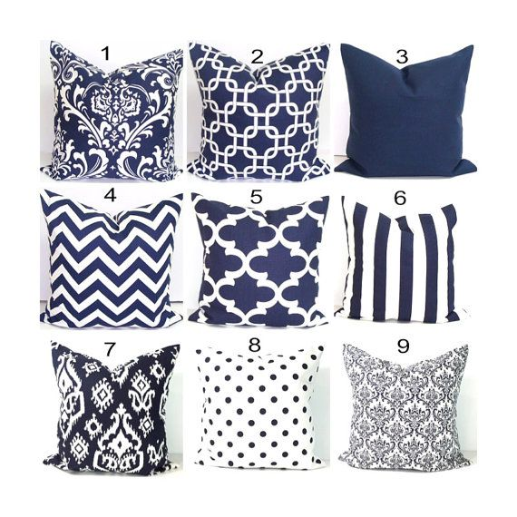 Navy Blue Pillows.18x18 Inch.Pillow Covers.Decorative Pillows.Blue Pillow…