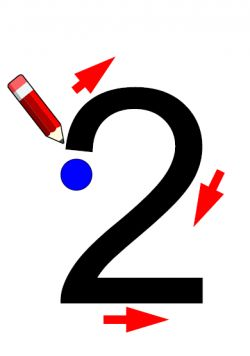 Aide à l'écriture des chiffres : partir du point bleu et suivre les flèches. À plastifier. Peut servir aussi d'affichage. Maths CP