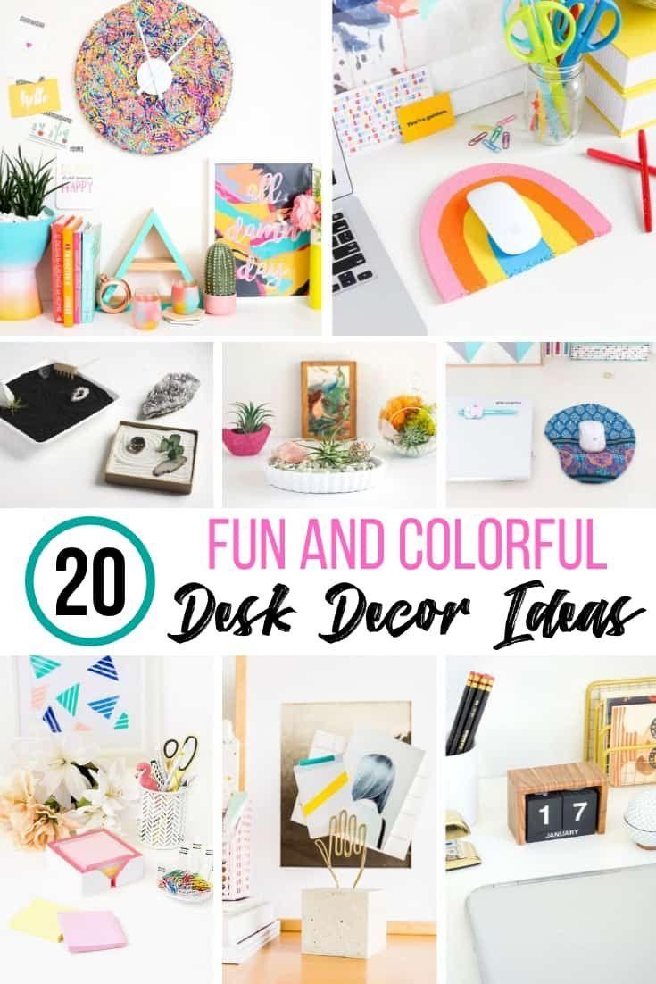 20 Colorful Diy Desk Decor Ideas To Keep You Organized Desk Organization Diy Diy Desk Decor Desk Decor