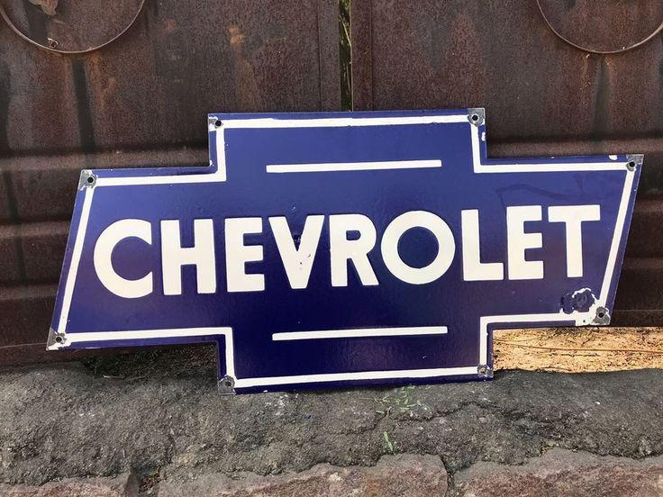 VINTAGE CHEVROLET BOWTIE PORCELAIN AUTOMOBILE GAS TRUCKS OIL PUMP PLATE SIGN #Chevrolet