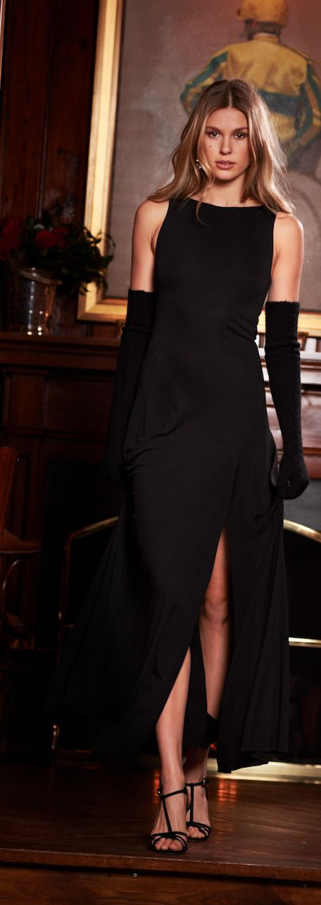 The Holiday Dress shop from Polo Ralph Lauren: The floor-sweeping hem of this fluid black matte jersey maxidress is highlighted by a slit at the front left. Complement the clean lines of the sleeveless style with statement accessories.