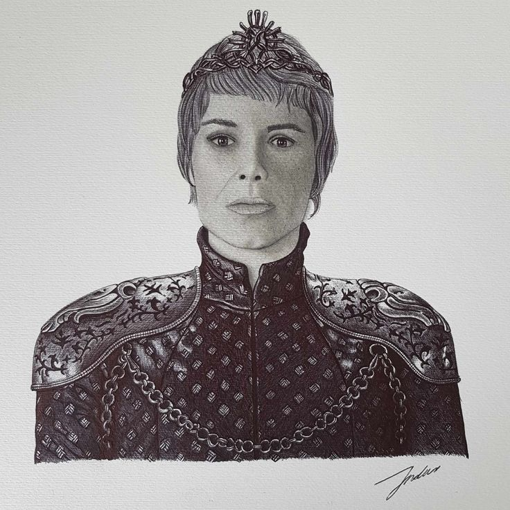 [EVERYTHING] My friend gave me permission to post his drawing of Queen Cersei in her armour