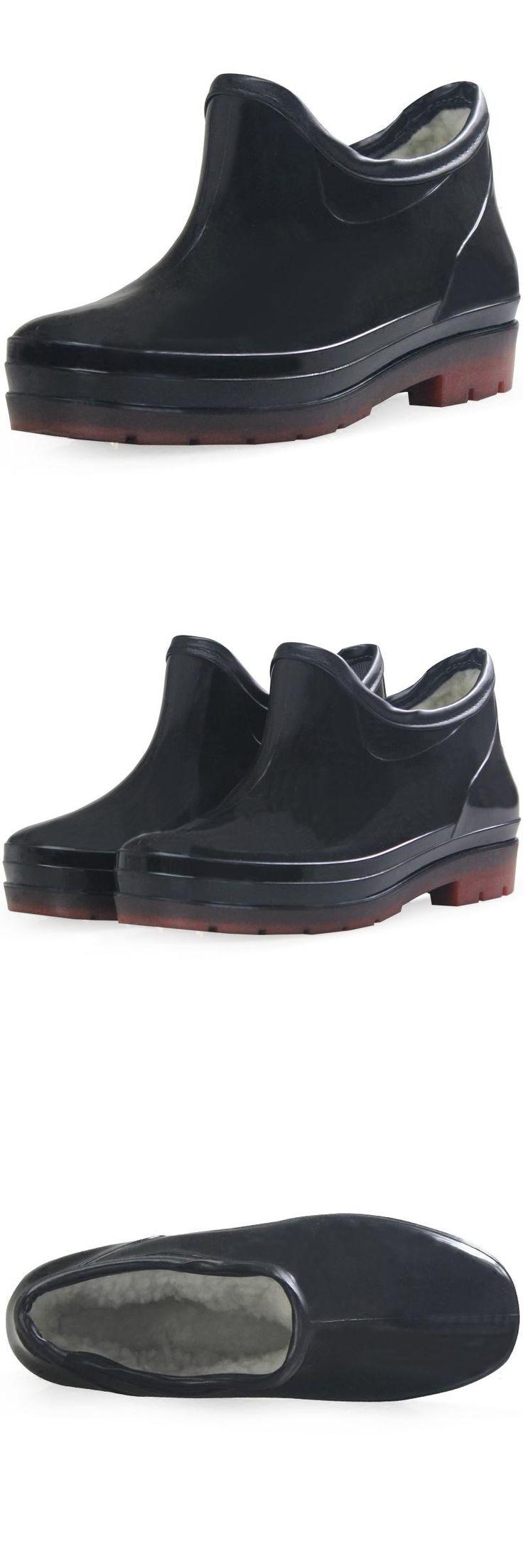 [Visit to Buy] 2017 Men's fashion balck rain boots male new non-slip waterproof short galoshes outdoor 39-46 plus size  bottes de pluie homme #Advertisement
