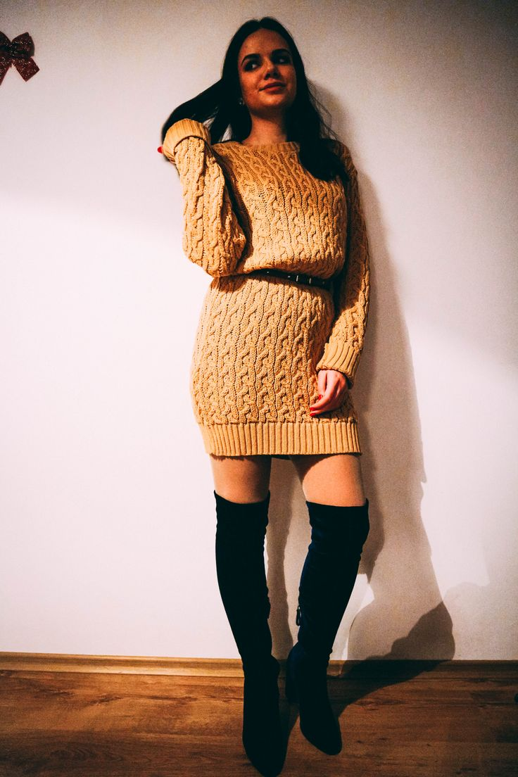 Mustard Knit Jumper Dress From Boohoo | Cute winter outfits #boohoo #mustard #jumper #dress #winterstyle #winterfashion #ootd #wiwt #ootw #sweater #sweaterweather #sweaterdress #overthekneeboots ##thighhighboots #cozy #knitstagram #instafashion #styleguide #streetstyle #streetwear #fashionblog #fashionbloggers #styletips