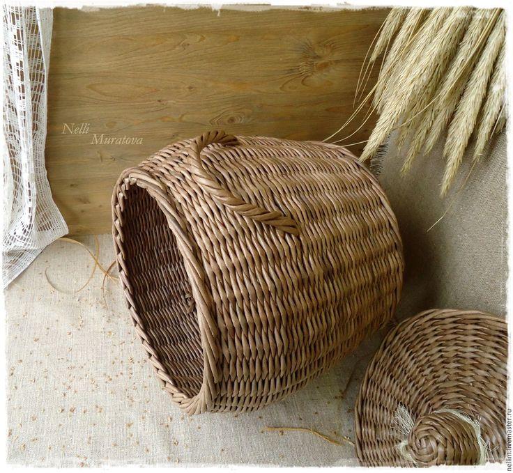 """Купить Короб-кузовок """"Милая деревня"""" - коричневый, плетеный короб, короб для кухни, короб для хранения"""