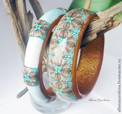 """Комплект браслетов """"Бирюзовый калейдоскоп"""". Handmade."""