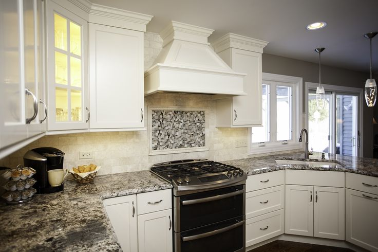 Naperville shaker style kitchen remodel white cabinetry for Shaker style kitchen hoods