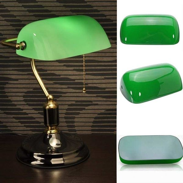 Vintage Green Glass Desk Banker Lamp, Replacement Glass Shade For Bankers Lamp