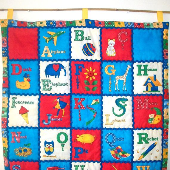 Alphabet Quilted Wall Hanging Decor Red, Blue, White Large ABC Quilt
