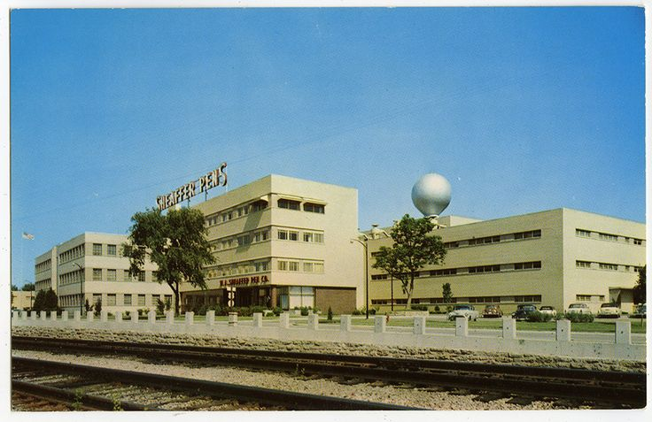 1954 postcard of Sheaffer Pen Company's main plant overlooking the Mississippi River in Fort Madison, Iowa.