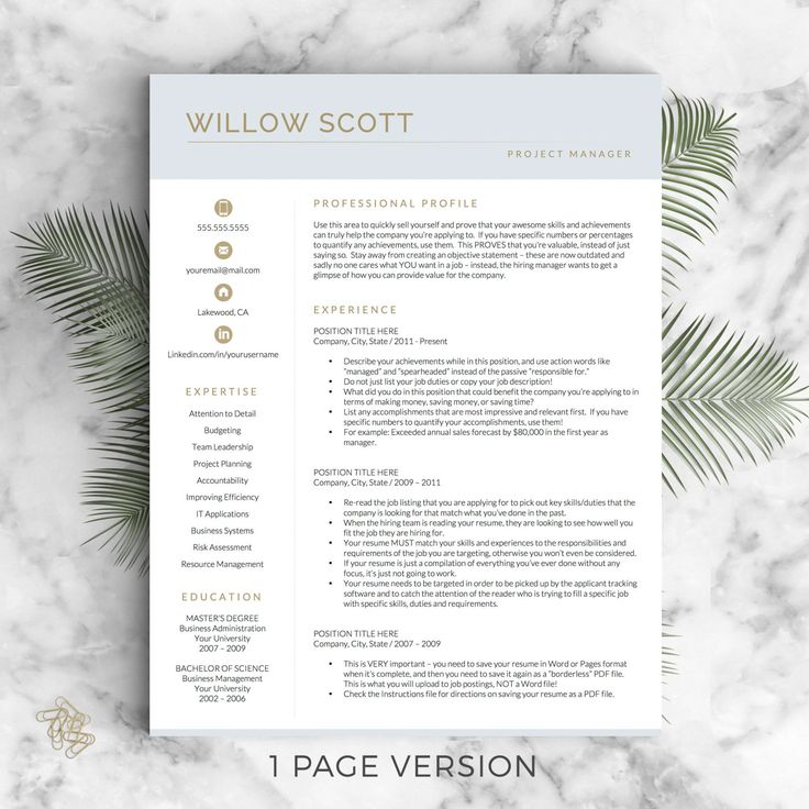 Modern Resume Template for Word & Pages: The Willow   - Instant Download Modern CV Template  - US Letter and A4 sizes included  - Mac & PC Compatible using Microsoft Word or Mac Pages  - One page resume, two page resume, three page resume, cover letter & references templates included =)  __________________  COUPONS: -> 2 Resumes for $25 ($USD) with code GETLANDED -> 3 Resumes for $35 ($USD) with code GETLANDED3  BONUS:  -> Each purchase includes a Get Landed™ Resume ...