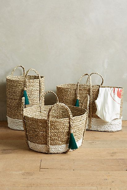 Balinese Tassel Baskets #anthropologie