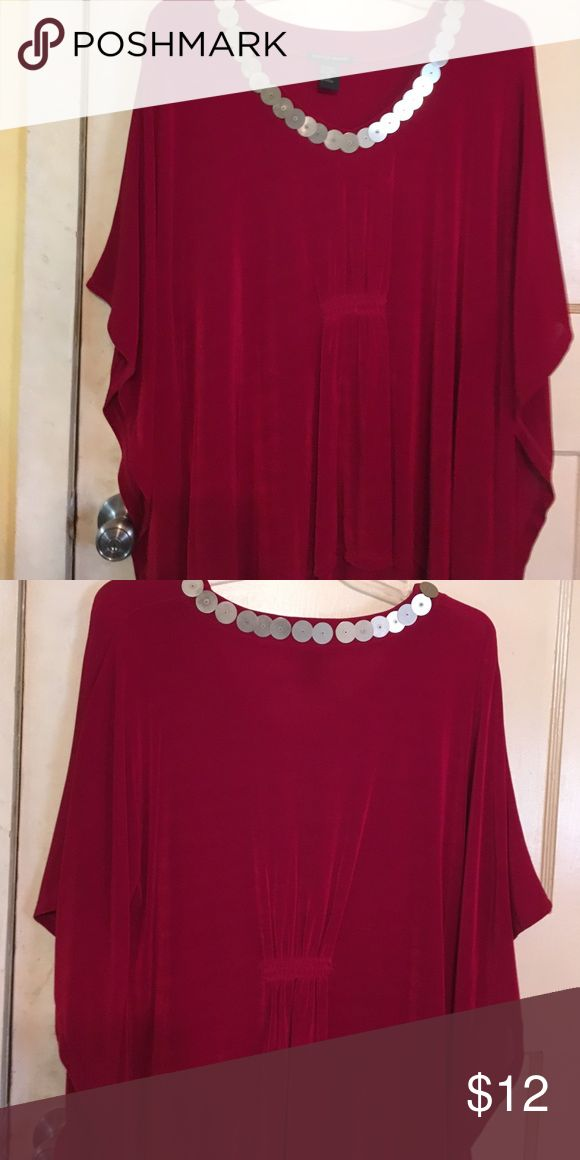 Bat wing shirt Beautiful red shirt with silver around the neck. Shirt is comfortable and beautiful, this shirt has the batwing sleeves Boston Proper Tops Blouses