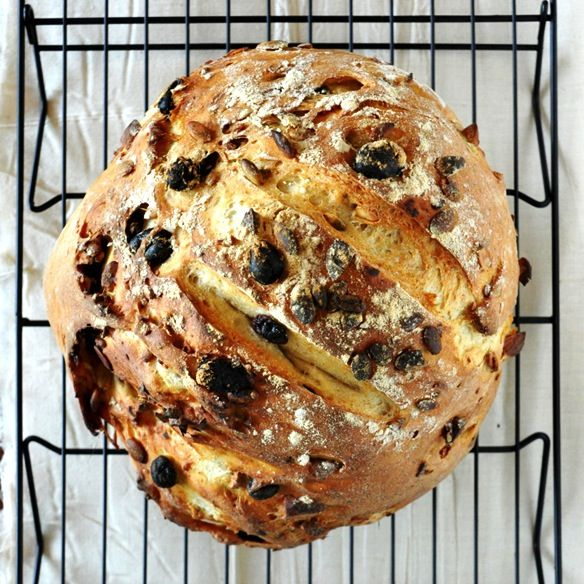 A simple, 7-ingredient muesli bread studded with pumpkin seeds, almonds, and raisins. Perfect for sandwiches, french toast, or toasted with butter and honey for breakfast.