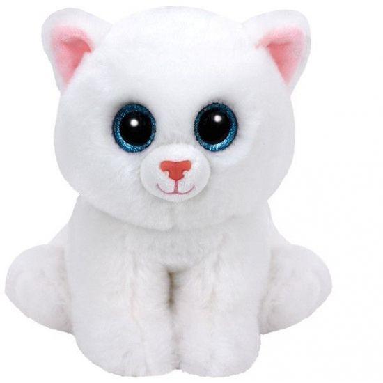 Ty Beanie knuffel witte kat 15 cm. Dit witte katten knuffeltje van het bekende merk Ty Beanie heeft een formaat van ongeveer 15 cm.